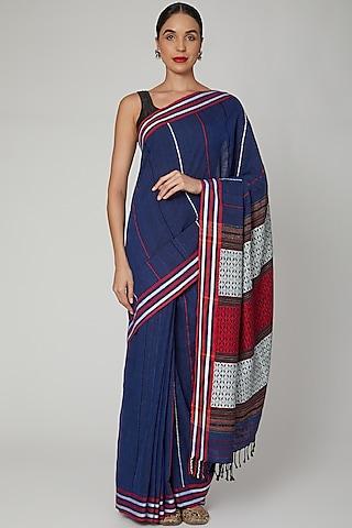 Navy Blue Silk Cotton Saree Set With Naga Motifs by The Silk Chamber