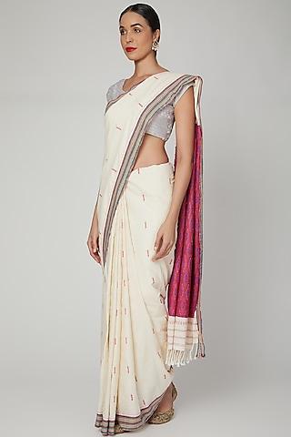 Off White Silk Cotton Saree Set With Mizo Motifs by The Silk Chamber