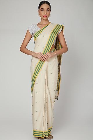 Cream Silk Cotton Saree Set With Motifs of Meghalaya by The Silk Chamber