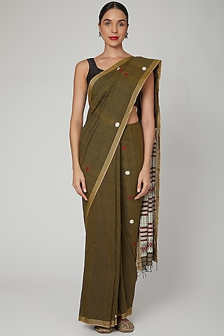 Onion Skin Dyed Silk Saree Set With Bodo Tribal Motifs by The Silk Chamber