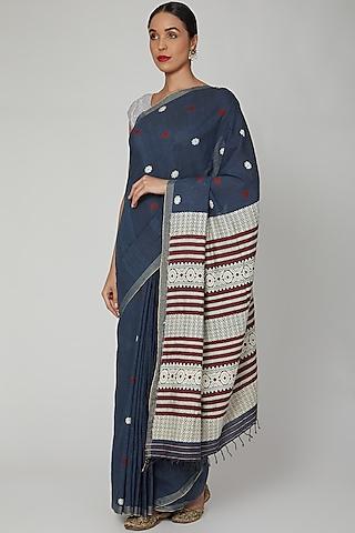 Indigo Blue Dyed Silk Saree Set With Bodo Tribal Motifs by The Silk Chamber