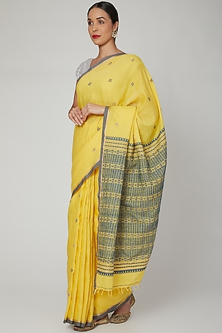 Canary Yellow Silk Cotton Saree Set With Indigo Dyed Motifs by The Silk Chamber