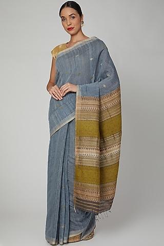 Inknut Grey Dyed Silk Saree Set with Bodo Tribal Motifs by The Silk Chamber