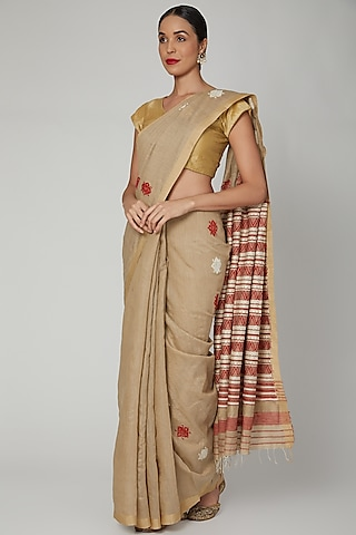 Tea Brown Dyed Silk Saree Set With Assamese Tribal Motifs by The Silk Chamber