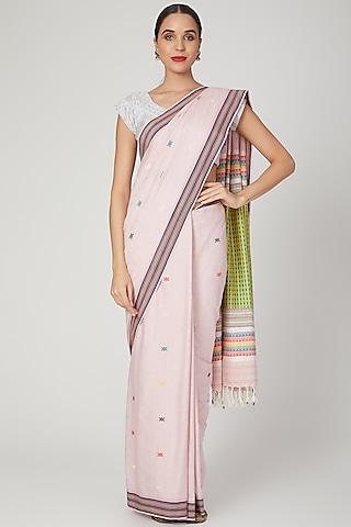 Blush Pink Embellished Saree Set by The Silk Chamber