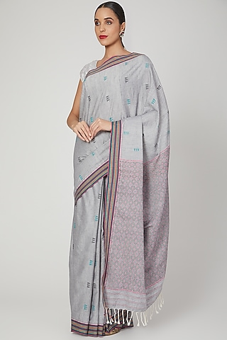 Grey Embellished Saree Set by The Silk Chamber