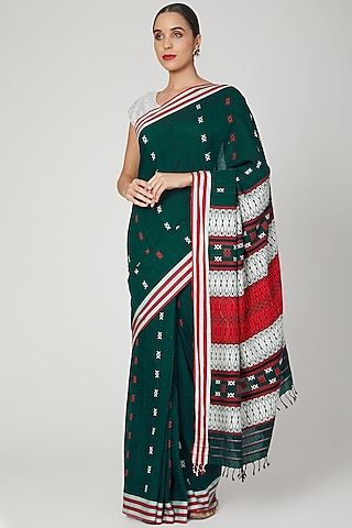 Emerald Green Embellished Saree Set by The Silk Chamber