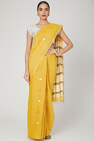Tumeric Yellow Dyed Saree Set by The Silk Chamber