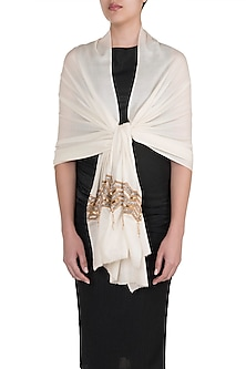 Off White Zig Zag Bordered Scarf by The Scarf Story