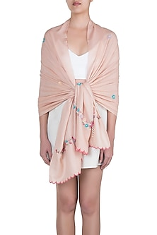Nude Pearl & Floral Bordered Scarf by The Scarf Story