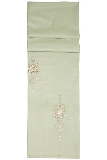 Mint Green Embroidered Scarf by The Scarf Story
