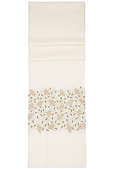 White Lotus Embroidered Scarf by The Scarf Story