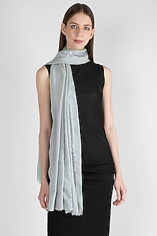 Sky Blue Sequins Embroidered Scarf by The Scarf Story