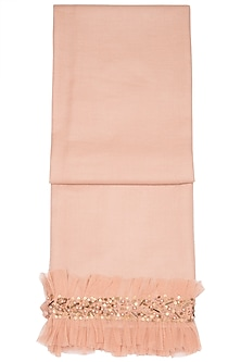 Peach Sequins Embroidered Scarf by The Scarf Story