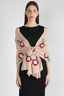 Nude Floral Embroidered Scarf by The Scarf Story