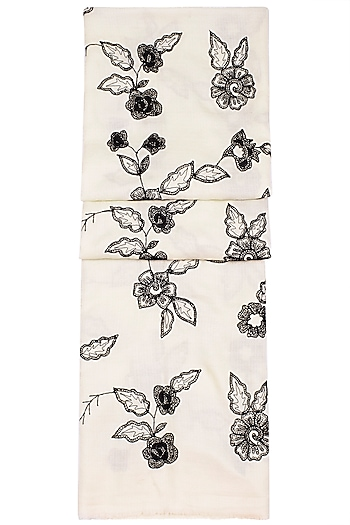 Off White & Black Embroidered Scarf by The Scarf Story