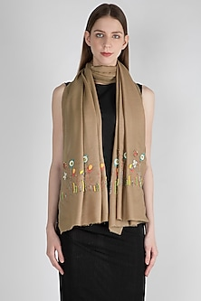 Beige Sequins Embroidered Scarf by The Scarf Story