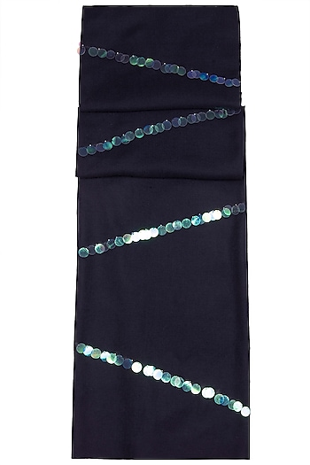 Navy Blue Embroidered Scarf by The Scarf Story