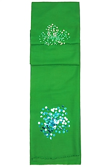 Green Sequins Embroidered Scarf by The Scarf Story
