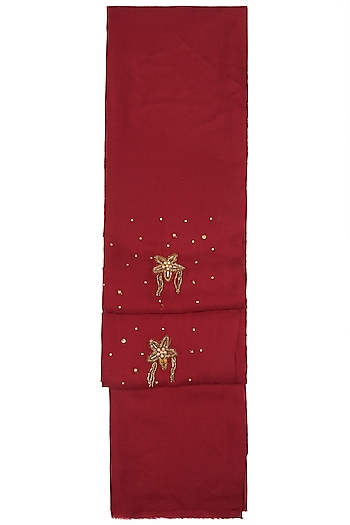 Maroon Star Embroidered Scarf by The Scarf Story