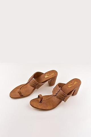 Mustard Kolhapuri Block Heels by The Shoe Tales