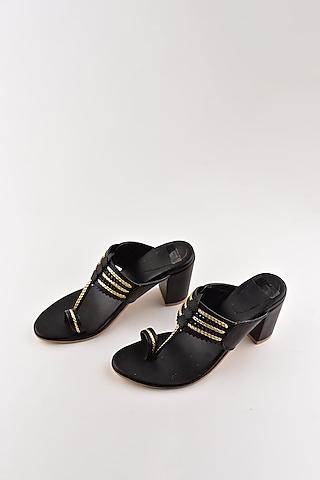 Black Kolhapuri Block Heels by The Shoe Tales