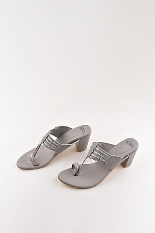 Grey Kolhapuri Block Heels by The Shoe Tales