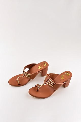 Tan Kolhapuri Block Heels by The Shoe Tales