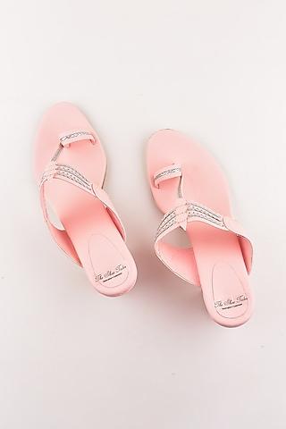 Blush Pink Kolhapuri Block Heels by The Shoe Tales