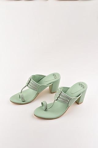 Mint Green Kolhapuri Block Heels by The Shoe Tales
