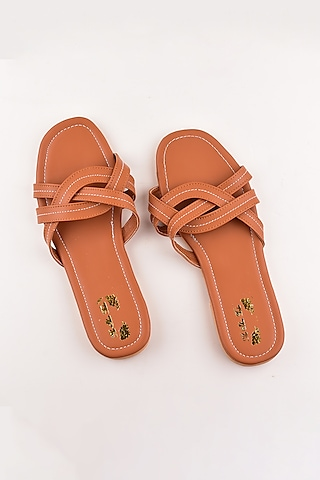 Tan Brown Criss Cross Sandals by The Shoe Tales
