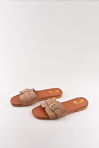 Beige Buckled Sandals by The Shoe Tales