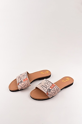 Mauve Embroidered Sandals by The Shoe Tales