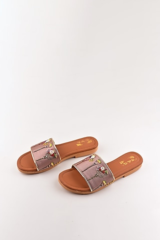 Rose Gold Embroidered Sandals by The Shoe Tales