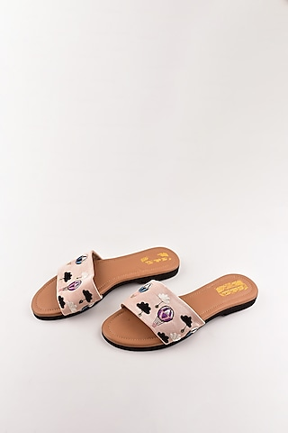 Blush Pink Embroidered Sandals by The Shoe Tales