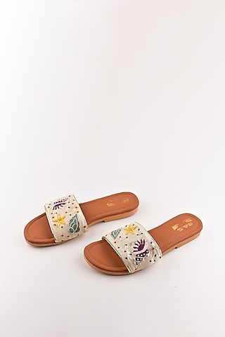 Beige Printed Sandals by The Shoe Tales