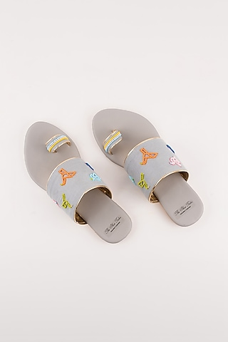 Grey Origami Embroidered Flats by The Shoe Tales