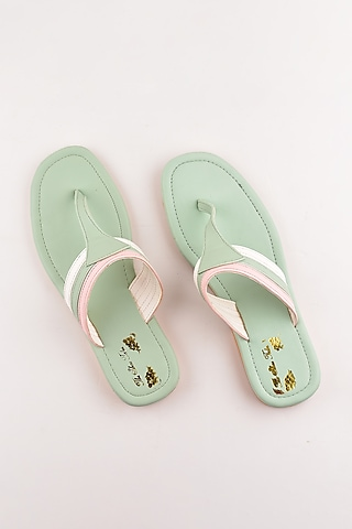 Mint Green Faux Leather Flats by The Shoe Tales