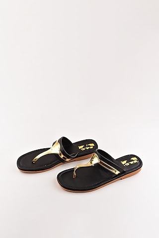 Black & Gold Faux Leather Flats by The Shoe Tales