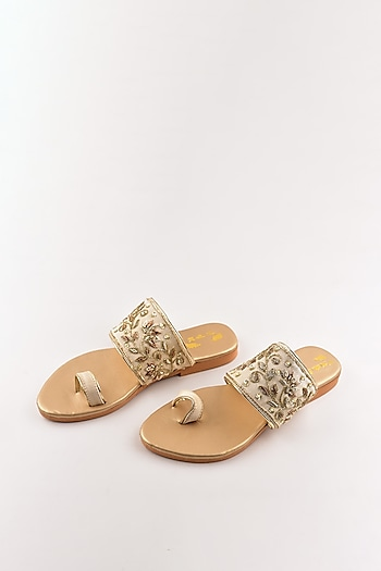Beige & Gold Embroidered Flats by The Shoe Tales