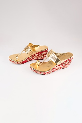 Red Embroidered Kolhapuri Wedges by The Shoe Tales