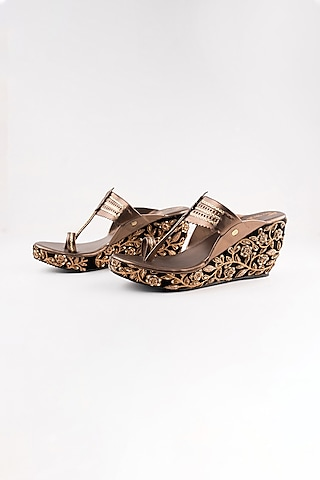 Black Embroidered Kolhapuri Wedges by The Shoe Tales