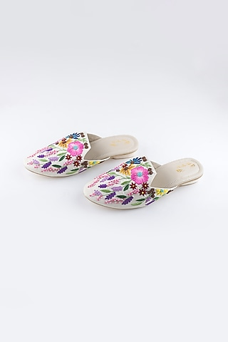 Off White Floral Mules by The Shoe Tales