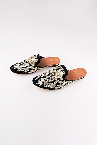 Black Zardosi Floral Mules by The Shoe Tales