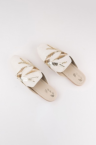 Off White Embroidered Mules by The Shoe Tales