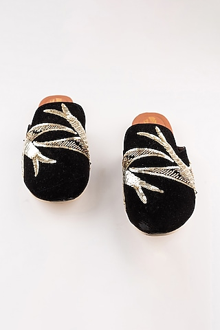 Black Bird Embroidered Mules by The Shoe Tales