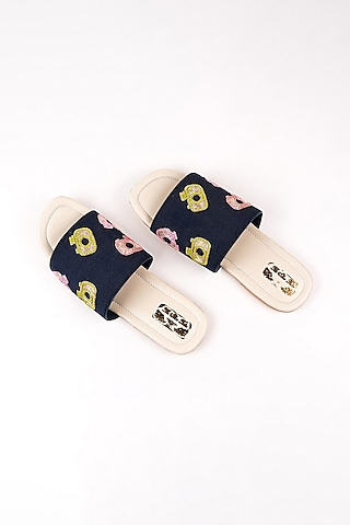 Navy Blue Camera Embroidered Slip Ons by The Shoe Tales