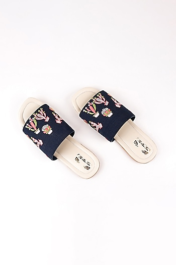 Navy Blue Cactus Embroidered Slip Ons by The Shoe Tales