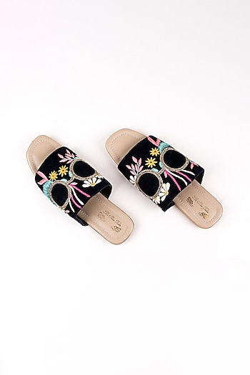 Navy Blue Velvet Embroidered Slip Ons by The Shoe Tales
