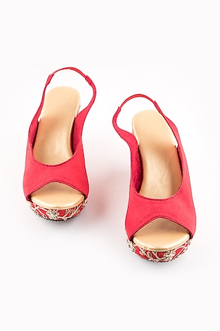 Red Floral Peep-Toe Wedges by The Shoe Tales